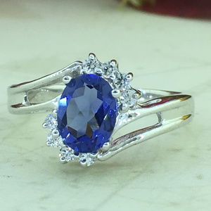 Princess Diana Style Tanzanite Ring In 925 Silver